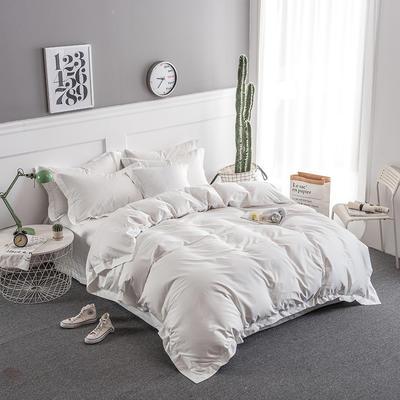 2018新款全棉40S  133*76简约纯色活性四件套 1.5m(5英尺)床 本白