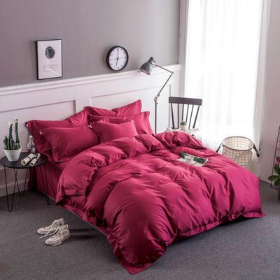 2018新款全棉40S  133*76简约纯色活性四件套 1.5m(5英尺)床 魅力红