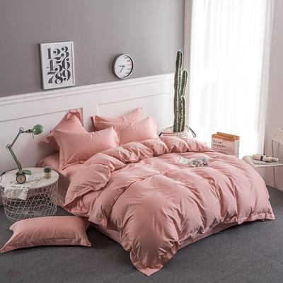 2018新款全棉40S  133*76简约纯色活性四件套 1.5m(5英尺)床 藕粉