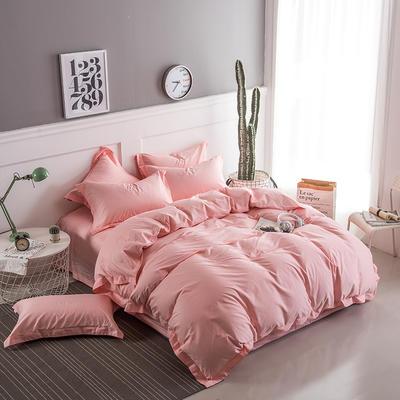 2018新款全棉40S  133*76简约纯色活性四件套 1.5m(5英尺)床 清新粉