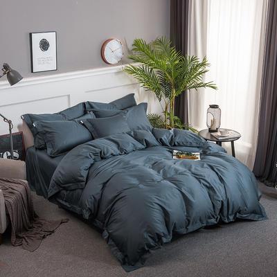 2018新款全棉40S  133*76简约纯色活性四件套 1.5m(5英尺)床 烟蓝