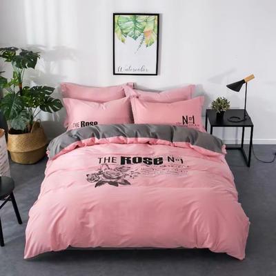 2018新款40S 133*72简欧数码印花四件套 1.8m(6英尺)床 玫瑰之地-粉