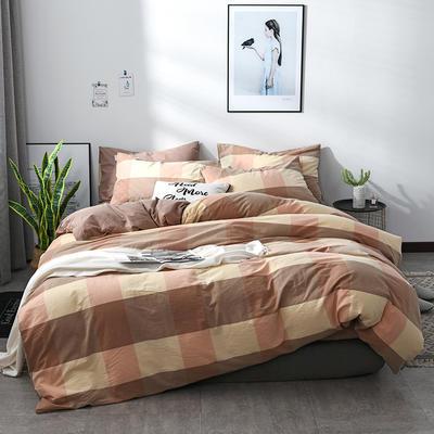 2018新款北欧定制良品全棉色织水洗棉四件套 小号1.2m三件套 黄玉大格