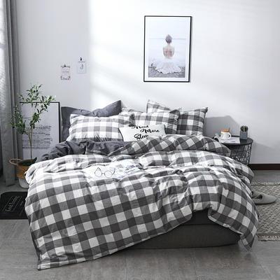 2018新款北欧定制良品全棉色织水洗棉四件套 加大2.0m四件套 灰白中格