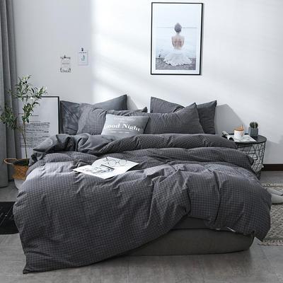 2018新款北欧定制良品全棉色织水洗棉四件套 小号1.2m三件套 京都格灰
