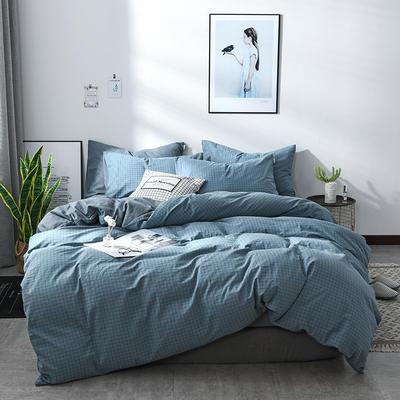 2018新款北欧定制良品全棉色织水洗棉四件套 标准1.8m四件套 京都格兰