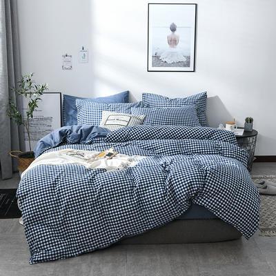 2018新款北欧定制良品全棉色织水洗棉四件套 加大2.0m四件套 深兰小格
