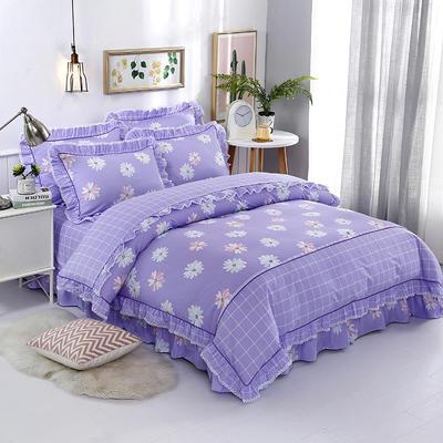 韩式纯棉小蕾丝款花边四件套系列 2.0m(6.6英尺)床 蝶悠心语-紫
