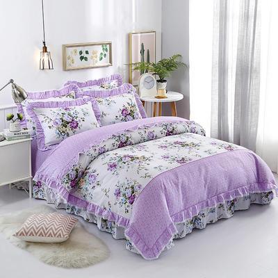 韩式小蕾丝款花边四件套系列 2.0m(6.6英尺)床 花滴娇艳-紫