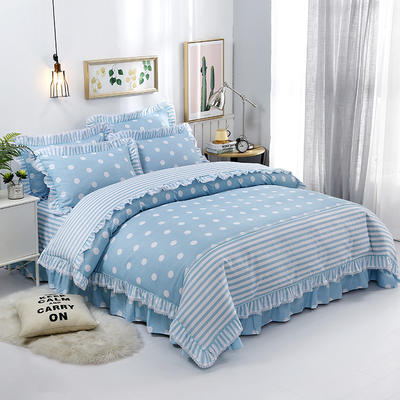 韩式小蕾丝款花边四件套系列 2.0m(6.6英尺)床 甜心波点-蓝