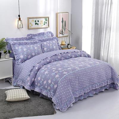 韩式小蕾丝款花边四件套系列 1.8m(6英尺)床 悠悠雅韵-紫