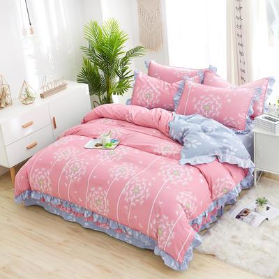 韩式纯棉柔雅款花边四件套系列 1.5m(5英尺)床 蒲公英的约定-粉
