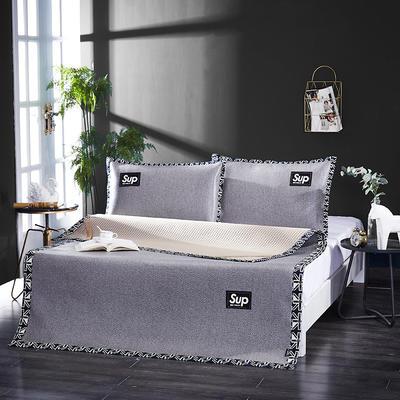 冰藤时尚纯色贴标凉席三件套 1.5m(5英尺)床 灰色