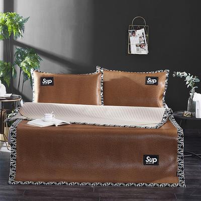 冰藤时尚纯色贴标凉席三件套 1.5m(5英尺)床 咖色