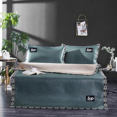 冰藤时尚纯色贴标凉席三件套 1.5m(5英尺)床 墨绿