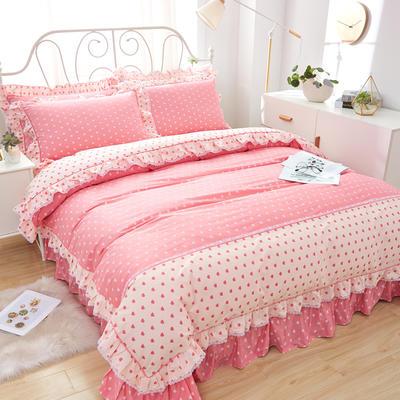 韩式小蕾丝款花边四件套系列 2.0m(6.6英尺)床 甜美心情-粉