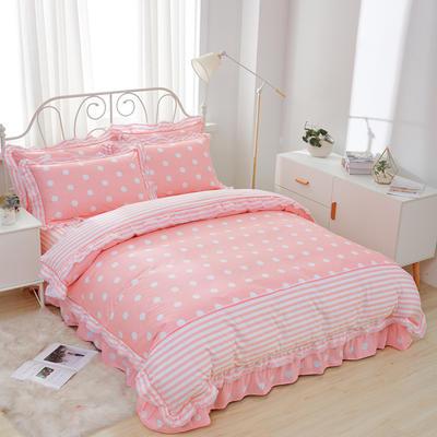 韩式纯棉田园碎花小蕾丝款花边四件套系列 1.8m(6英尺)床 甜心波点-粉