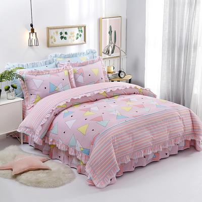 韩式小蕾丝款花边四件套系列 1.8m(6英尺)床 奇趣世界-粉