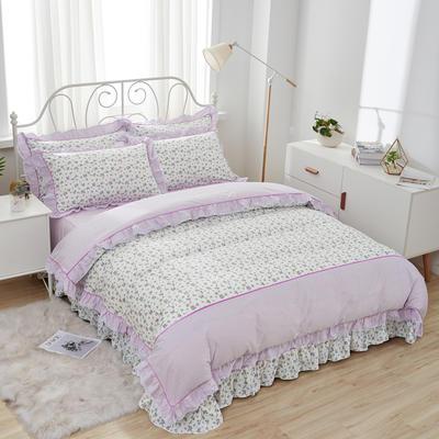 韩式纯棉田园碎花小蕾丝款花边四件套系列 1.8m(6英尺)床 情定花开-紫