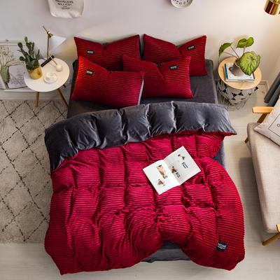 2019新款魔法绒水晶绒贴标四件套 1.8m(6英尺)床 酒红色