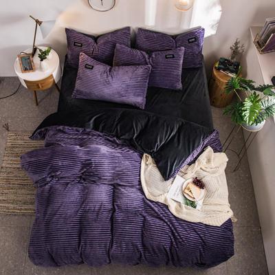 2019新款魔法绒水晶绒贴标四件套 1.8m(6英尺)床 魅力紫