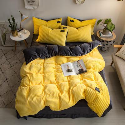 2019新款魔法绒水晶绒贴标四件套 1.8m(6英尺)床 柠檬黄