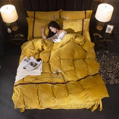 2019新款保暖水晶绒毛巾绣小蜜蜂系列四件套 1.8m-2.0m床单款四件套 小蜜蜂姜黄