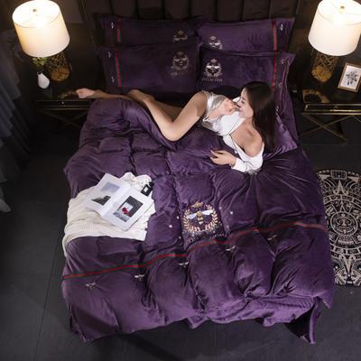 2019新款保暖水晶绒毛巾绣小蜜蜂系列四件套 1.8m床单款四件套 小蜜蜂深紫