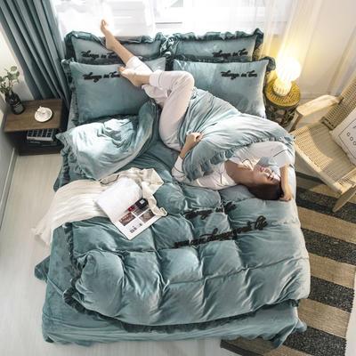 2019新款韩式花边水晶绒毛巾绣欧若拉系列四件套 1.8m床单款四件套 欧若拉水绿