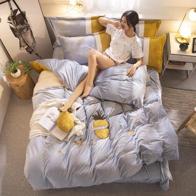 2019新款水晶绒毛巾绣悠然时光菠萝系列四件套 1.8m-2.0m床单款四件套 悠然时光银灰