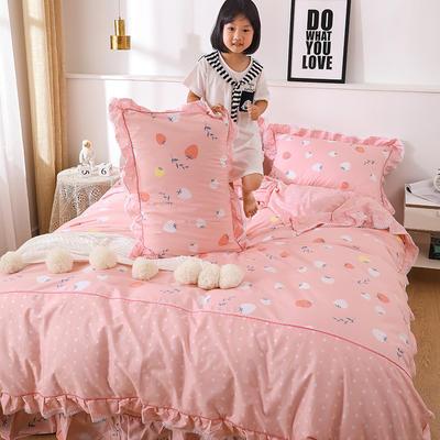 韩式纯棉田园碎花小蕾丝款花边四件套系列 1.8m(6英尺)床 草苺乐园-红