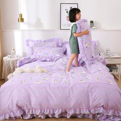 韩式纯棉田园碎花小蕾丝款花边四件套系列 1.8m(6英尺)床 繁花迷情