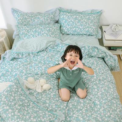 韩式纯棉田园碎花小蕾丝款花边四件套系列 1.5m(5英尺)床 花韵凝香-绿