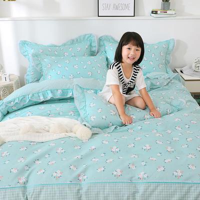 韩式纯棉田园碎花小蕾丝款花边四件套系列 1.8m(6英尺)床 香氛-绿