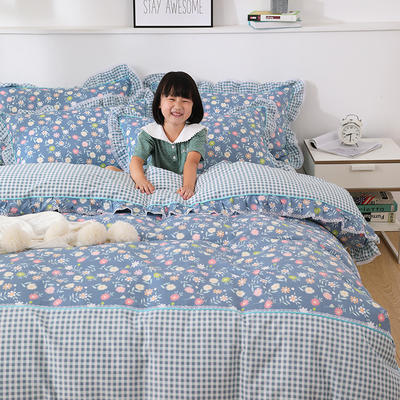 韩式纯棉田园碎花小蕾丝款花边四件套系列 1.8m(6英尺)床 香氛魅影-兰