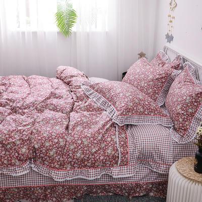 韩式纯棉田园碎花小蕾丝款花边四件套系列 1.8m(6英尺)床 花季妙语-红