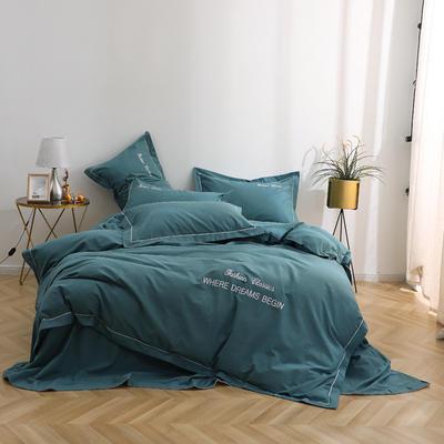 2019铂金棉宽边刺绣四件套系列 1.5m床单款四件套 星雨-深绿