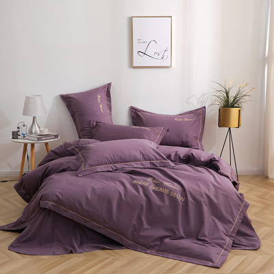 2019铂金棉宽边刺绣四件套系列 1.5m床单款四件套 星雨-紫