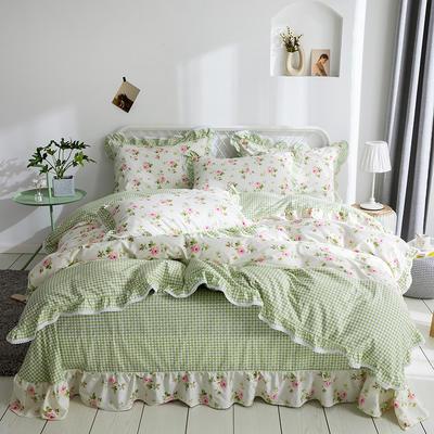 韩式纯棉田园碎花小蕾丝款花边四件套系列 2.0m(6.6英尺)床 芸阁栖香-绿