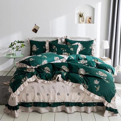 韩式纯棉柔雅款花边四件套系列 1.8m(6英尺)床 欧漫风尚-绿