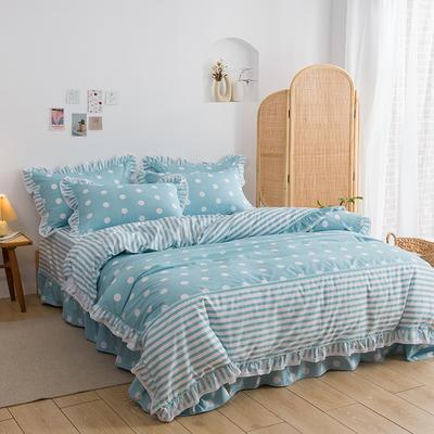 韩式纯棉田园碎花小蕾丝款花边四件套系列 1.8m(6英尺)床 甜心波点-蓝