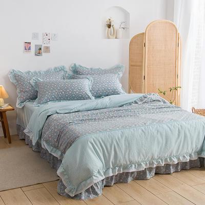 韩式纯棉田园碎花小蕾丝款花边四件套系列 1.5m(5英尺)床 花忆梦