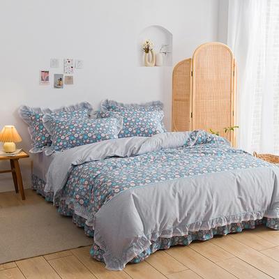韩式纯棉田园碎花小蕾丝款花边四件套系列 1.8m(6英尺)床 玲珑花语-灰