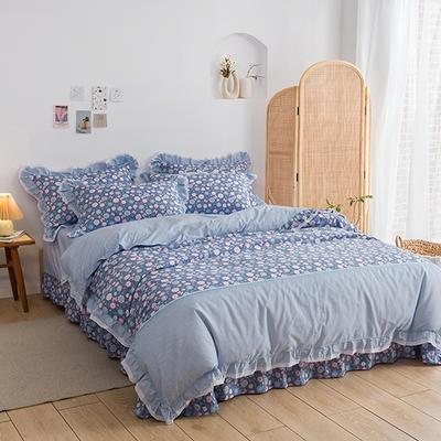 韩式纯棉田园碎花小蕾丝款花边四件套系列 1.5m(5英尺)床 玲珑花语-兰