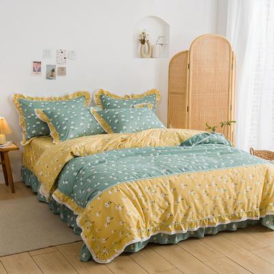 韩式纯棉田园碎花小蕾丝款花边四件套系列 1.5m(5英尺)床 迷情小雏菊