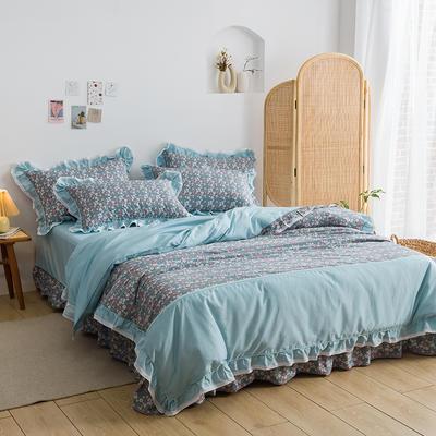 韩式纯棉田园碎花小蕾丝款花边四件套系列 1.5m(5英尺)床 玛格丽-兰