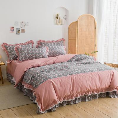 韩式纯棉田园碎花小蕾丝款花边四件套系列 1.8m(6英尺)床 玛格丽-豆沙灰