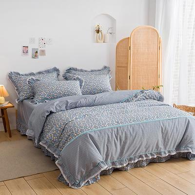 韩式纯棉田园碎花小蕾丝款花边四件套系列 1.5m(5英尺)床 漫天花雨