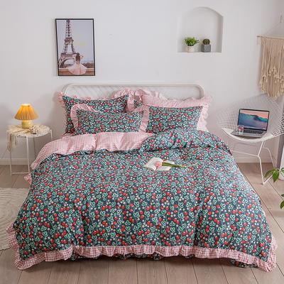 2020新款韩式纯棉花样年华花边系列四件套 1.8m床单款四件套 草莓园