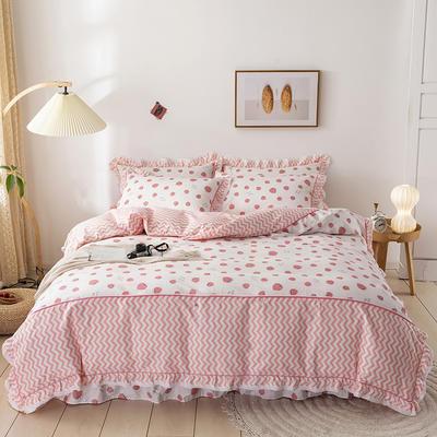 韩式纯棉田园碎花小蕾丝款花边四件套系列 1.8m(6英尺)床 波西小草莓
